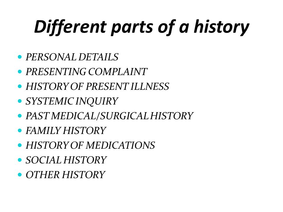 Different parts of a history
