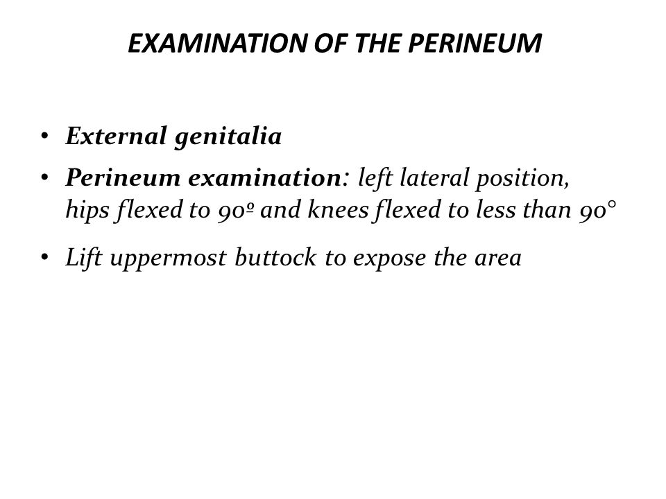 EXAMINATION OF THE PERINEUM