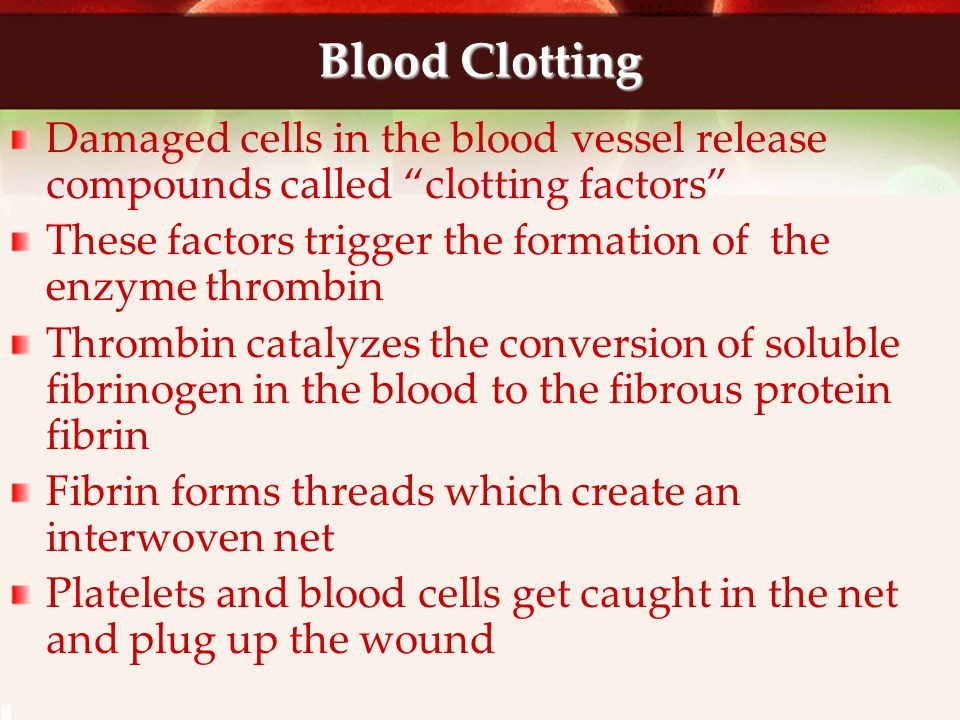 Blood Clotting Damaged cells in the blood vessel release compounds called clotting factors