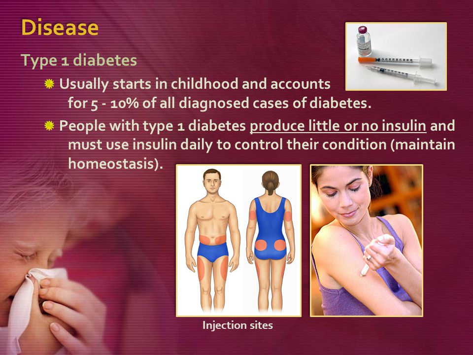 Disease Type 1 diabetes. Usually starts in childhood and accounts for 5 - 10% of all diagnosed cases of diabetes.