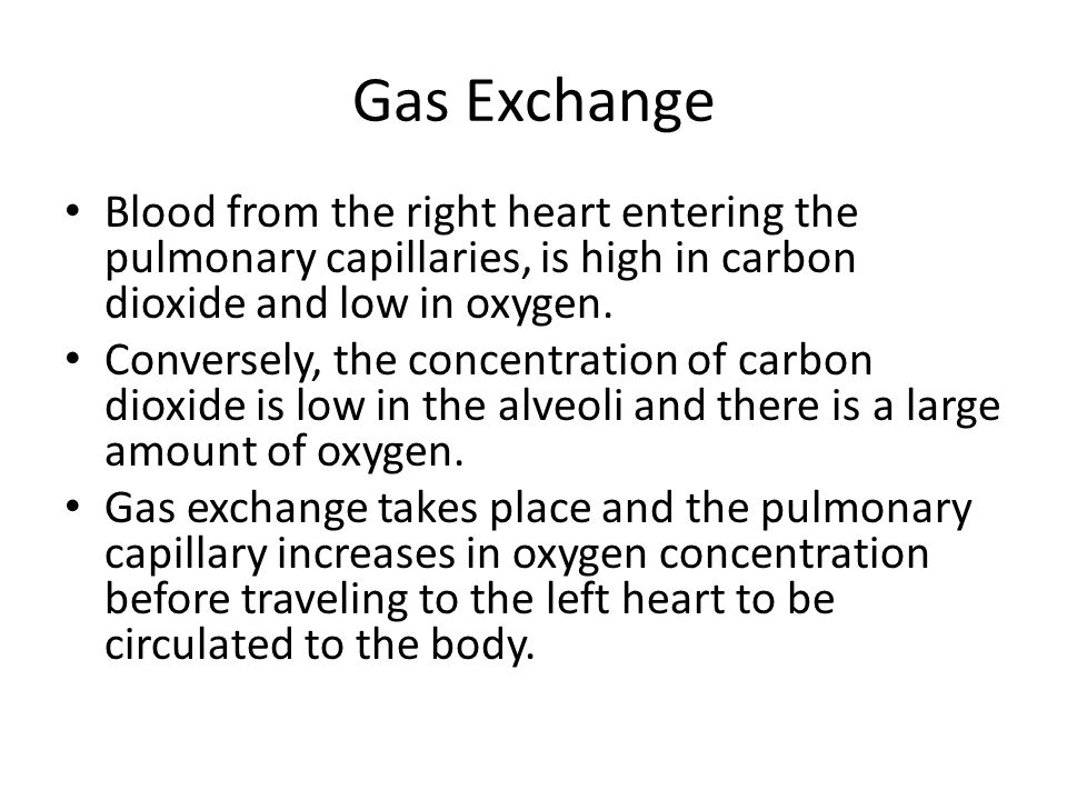 Gas Exchange Blood from the right heart entering the pulmonary capillaries, is high in carbon dioxide and low in oxygen.