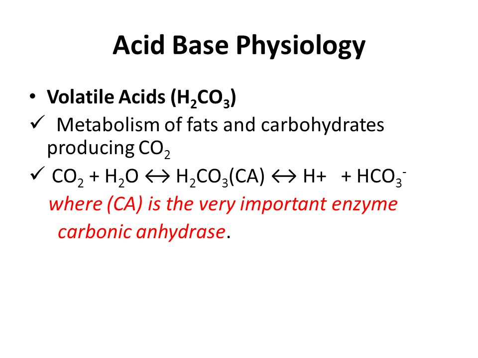 Acid Base Physiology Volatile Acids (H2CO3)