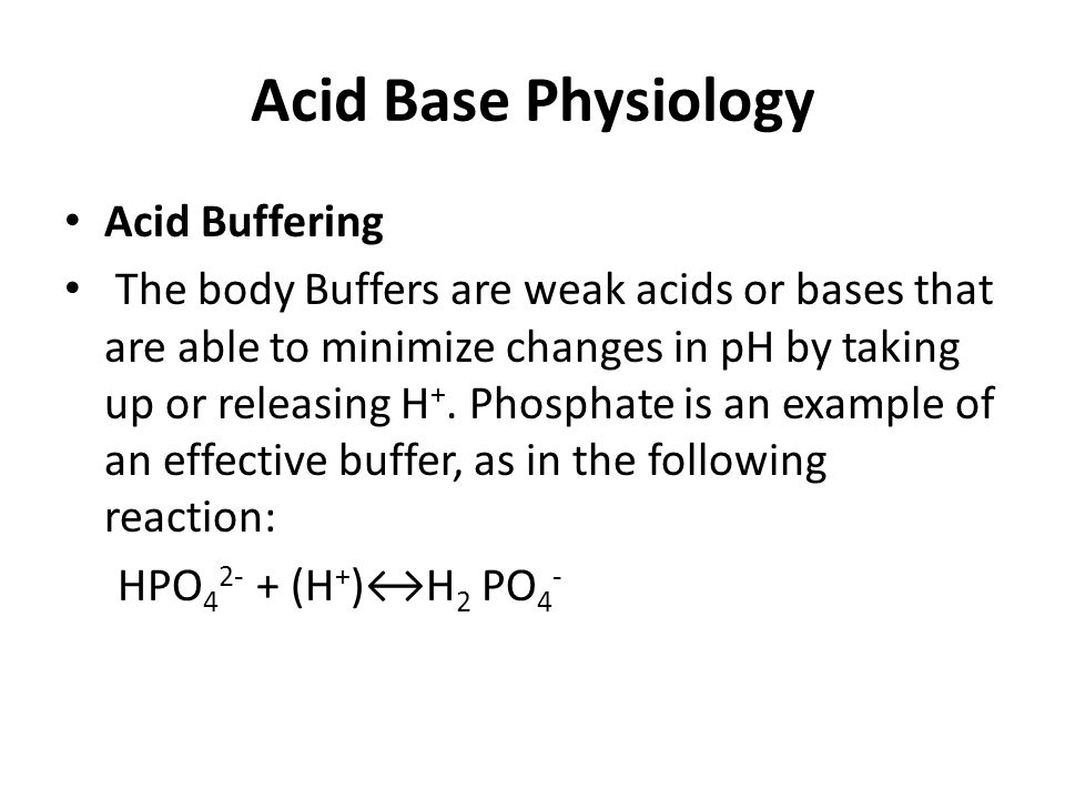 Acid Base Physiology Acid Buffering