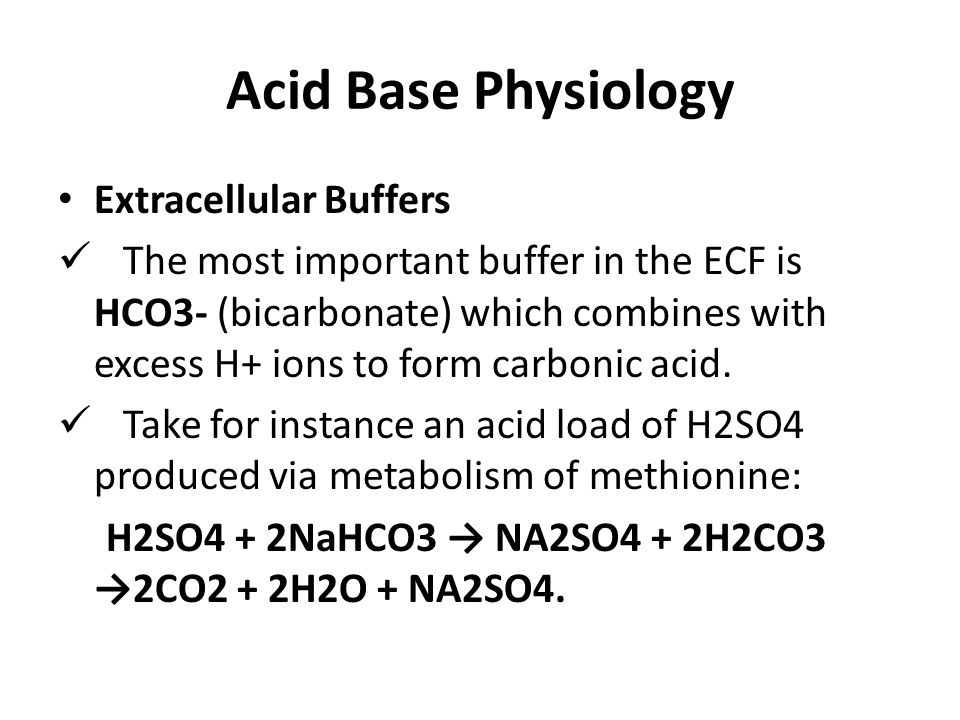 Acid Base Physiology Extracellular Buffers