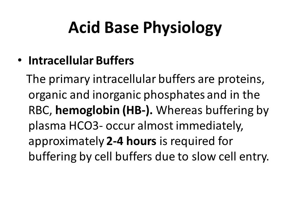 Acid Base Physiology Intracellular Buffers