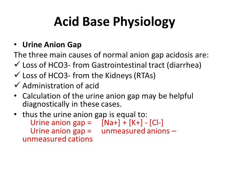 Acid Base Physiology Urine Anion Gap