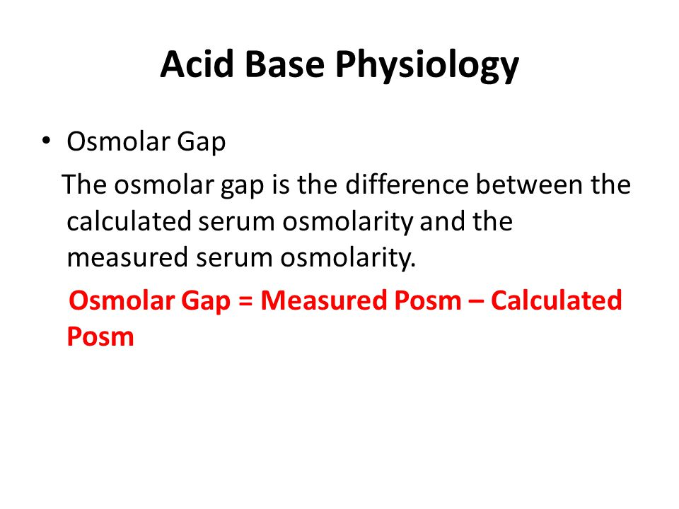 Acid Base Physiology Osmolar Gap