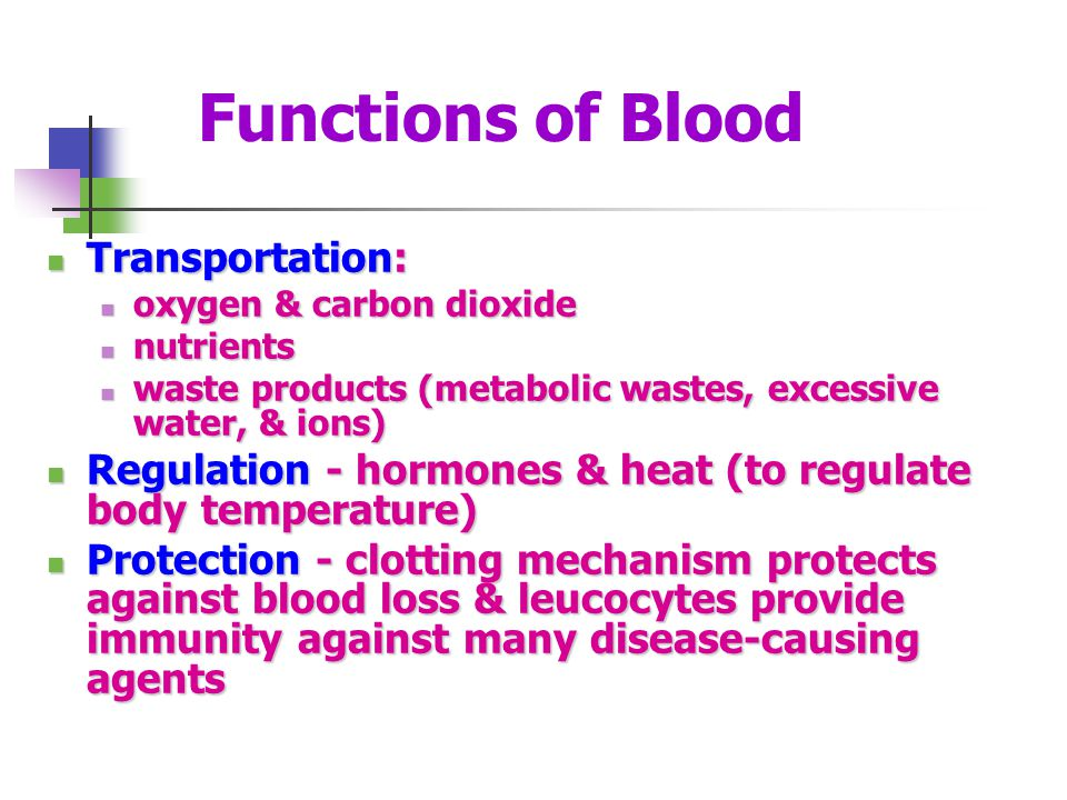 Functions of Blood Transportation: