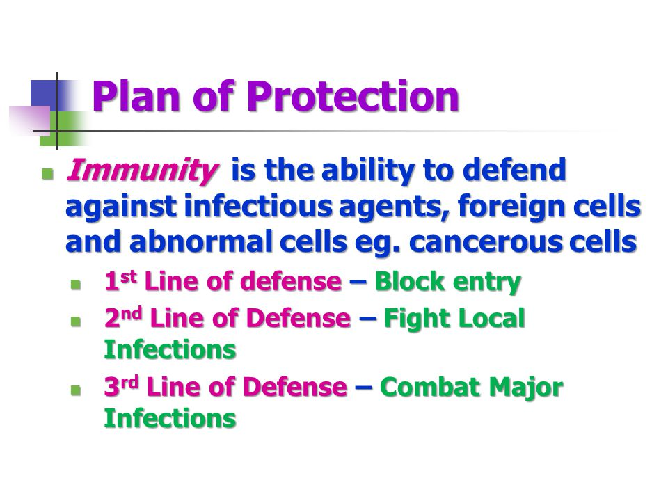 Plan of Protection Immunity is the ability to defend against infectious agents, foreign cells and abnormal cells eg. cancerous cells.