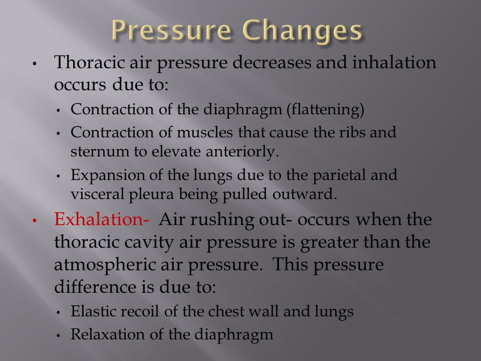 Pressure Changes Thoracic air pressure decreases and inhalation occurs due to: Contraction of the diaphragm (flattening)