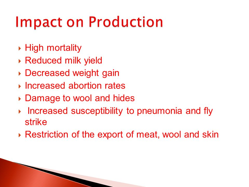 Impact on Production High mortality Reduced milk yield