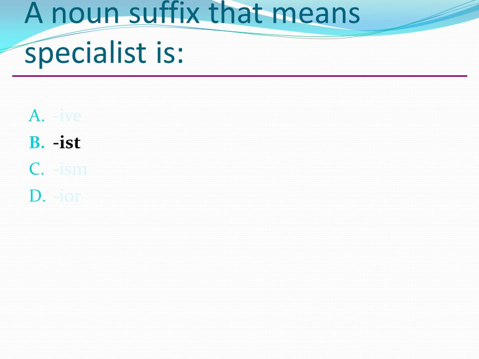 A noun suffix that means specialist is: