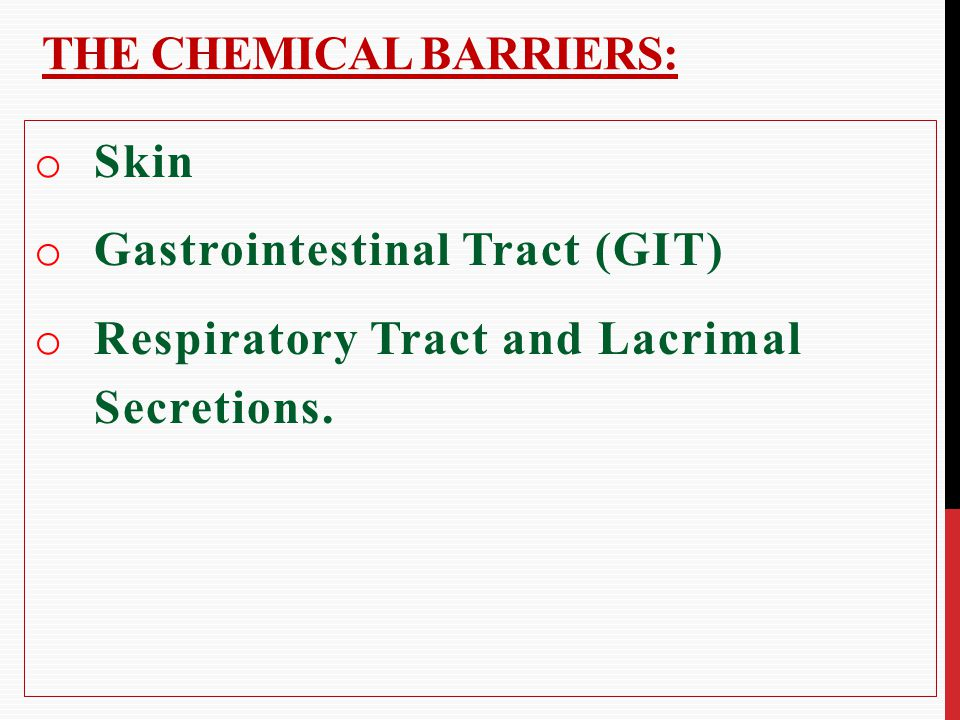 The chemical barriers: