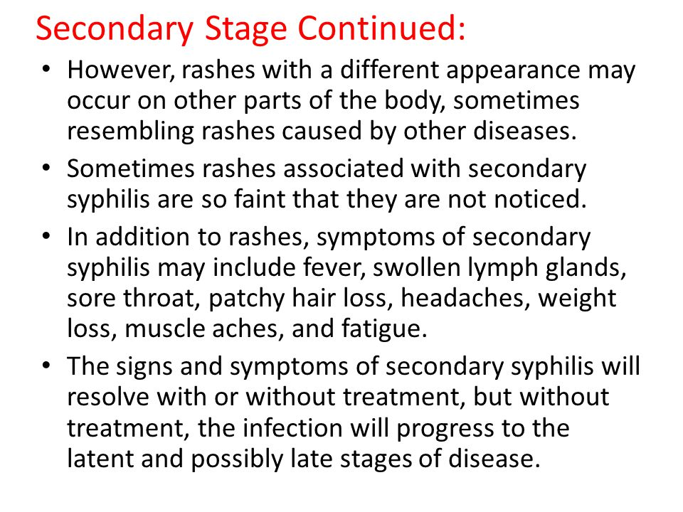 Secondary Stage Continued: