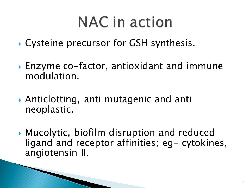 NAC in action Cysteine precursor for GSH synthesis.