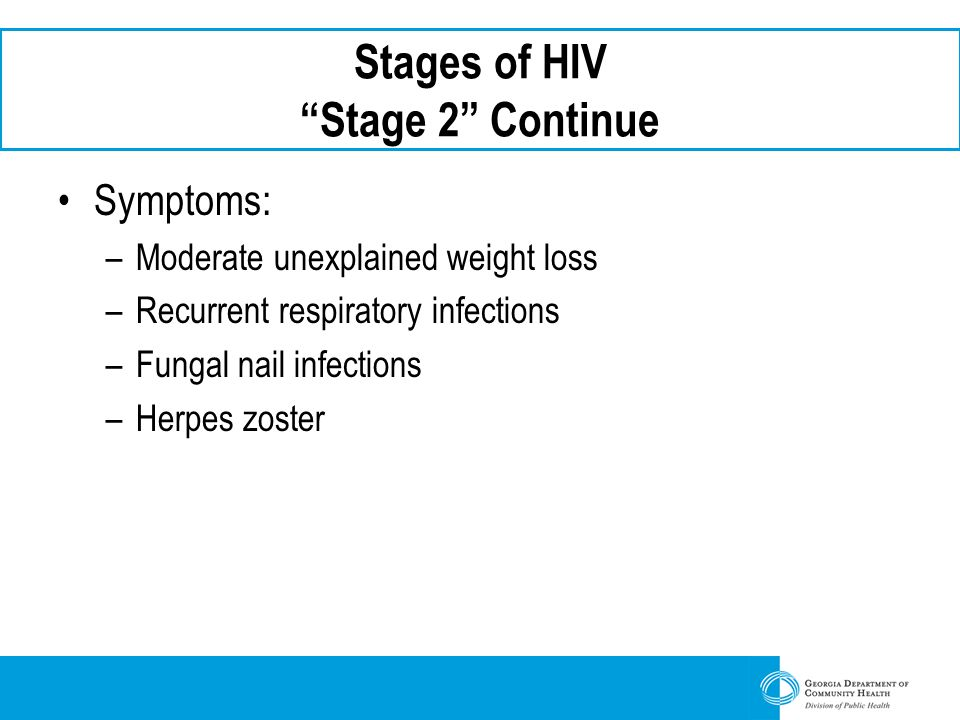 Stages of HIV Stage 2 Continue