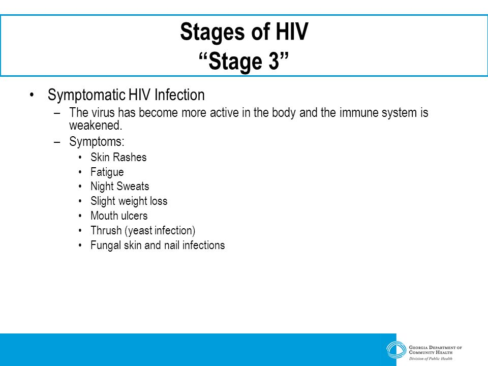 Stages of HIV Stage 3 Symptomatic HIV Infection