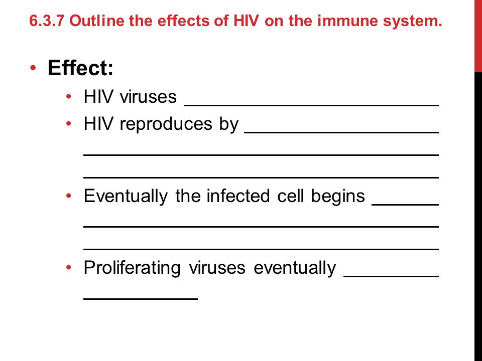 Effect: HIV viruses HIV reproduces by