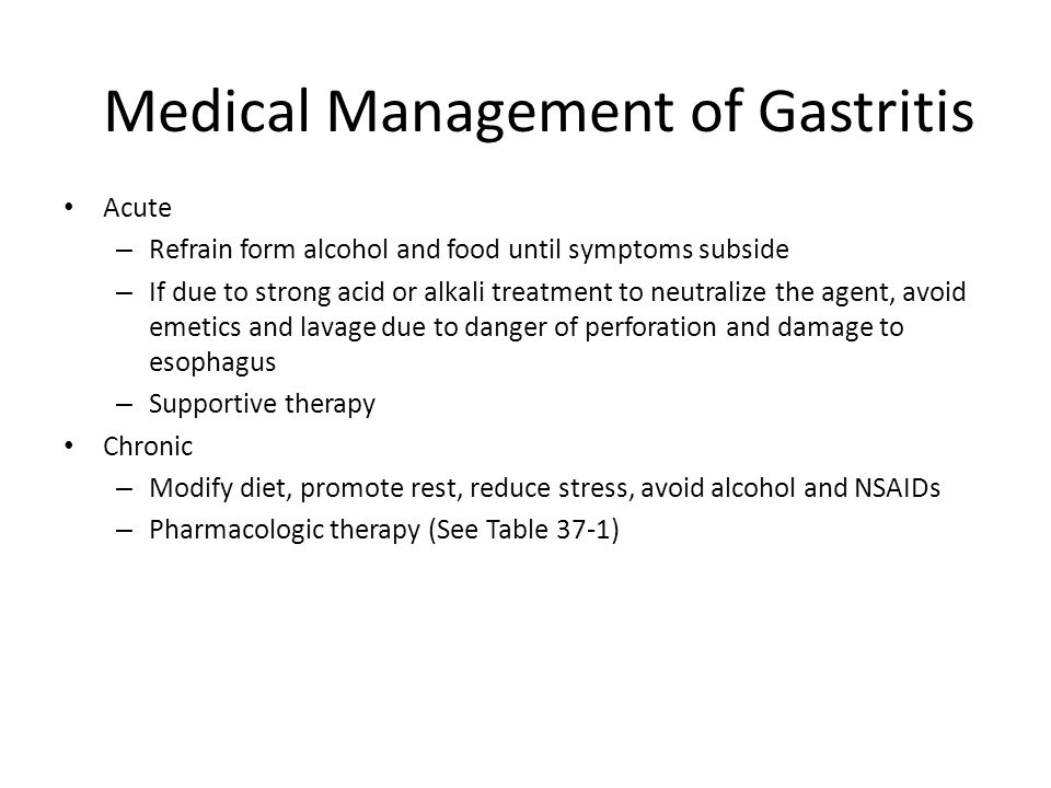Medical Management of Gastritis
