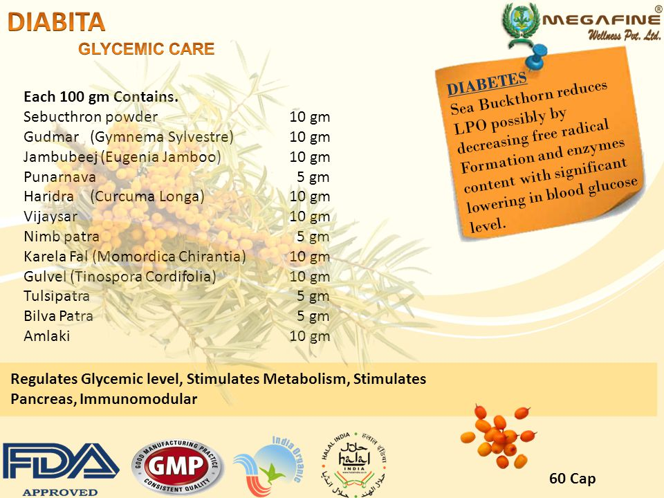 DIABITA GLYCEMIC CARE DIABETES Sea Buckthorn reduces LPO possibly by