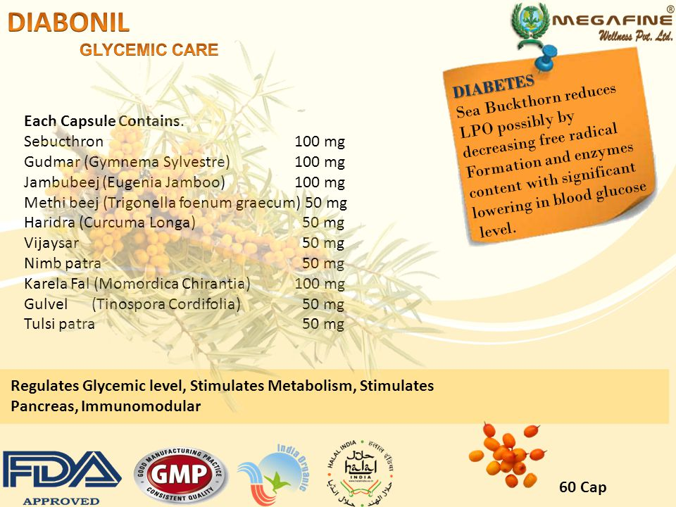 DIABONIL GLYCEMIC CARE DIABETES Sea Buckthorn reduces LPO possibly by