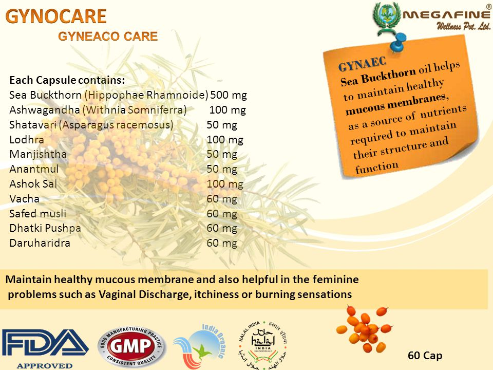 GYNOCARE GYNEACO CARE GYNAEC Sea Buckthorn oil helps