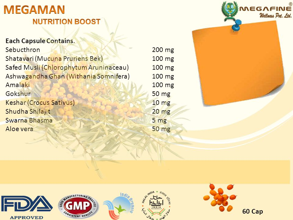 MEGAMAN NUTRITION BOOST Each Capsule Contains. Sebucthron 200 mg