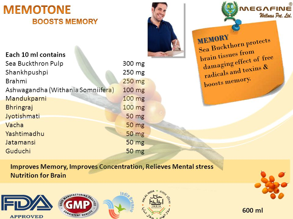 MEMOTONE BOOSTS MEMORY MEMORY Sea Buckthorn protects