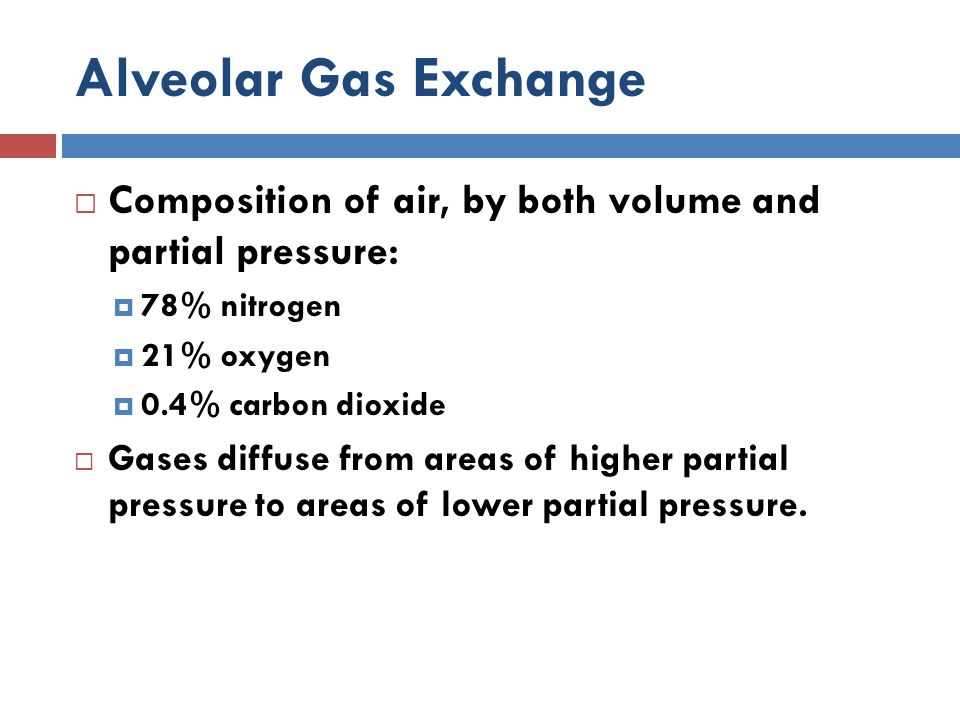 Alveolar Gas Exchange Composition of air, by both volume and partial pressure: 78% nitrogen. 21% oxygen.