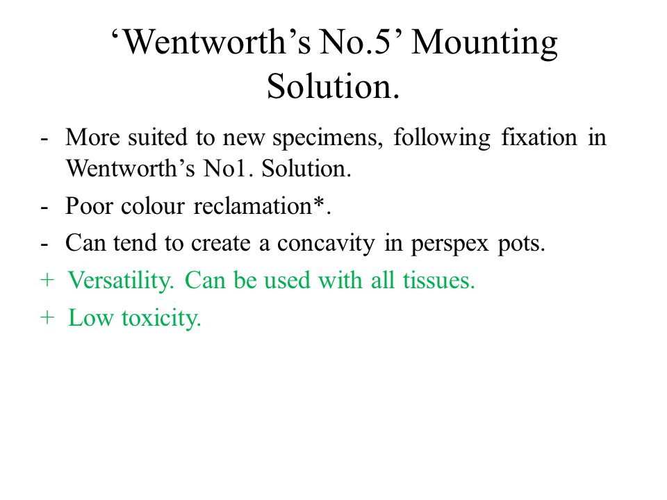 'Wentworth's No.5' Mounting Solution.