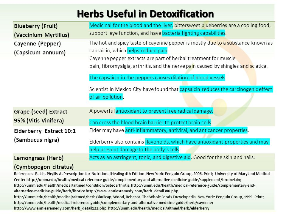 Herbs Useful in Detoxification