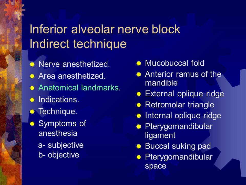 Inferior alveolar nerve block Indirect technique
