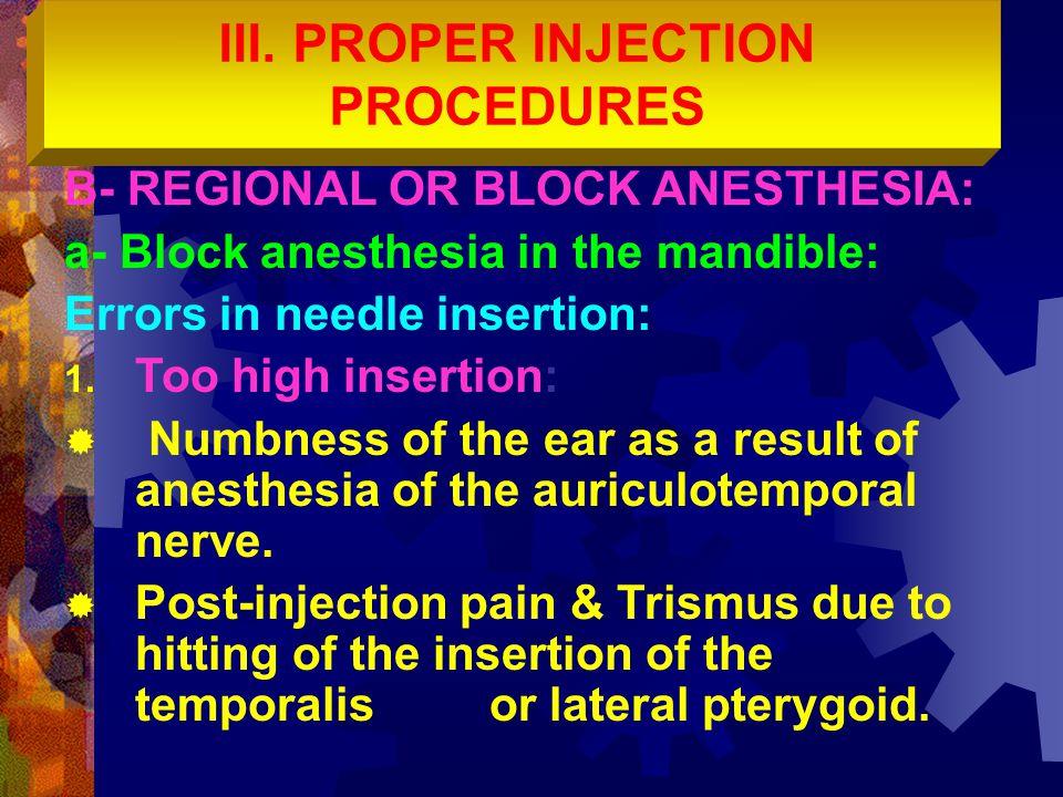 III. PROPER INJECTION PROCEDURES