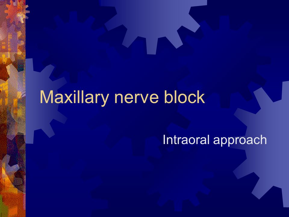 Maxillary nerve block Intraoral approach