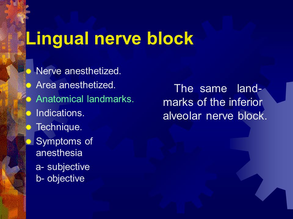 Lingual nerve block Nerve anesthetized. Area anesthetized. Anatomical landmarks. Indications. Technique.