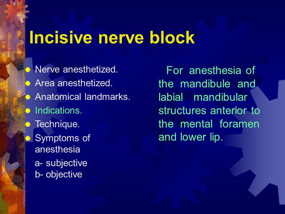 Incisive nerve block Nerve anesthetized. Area anesthetized. Anatomical landmarks. Indications. Technique.