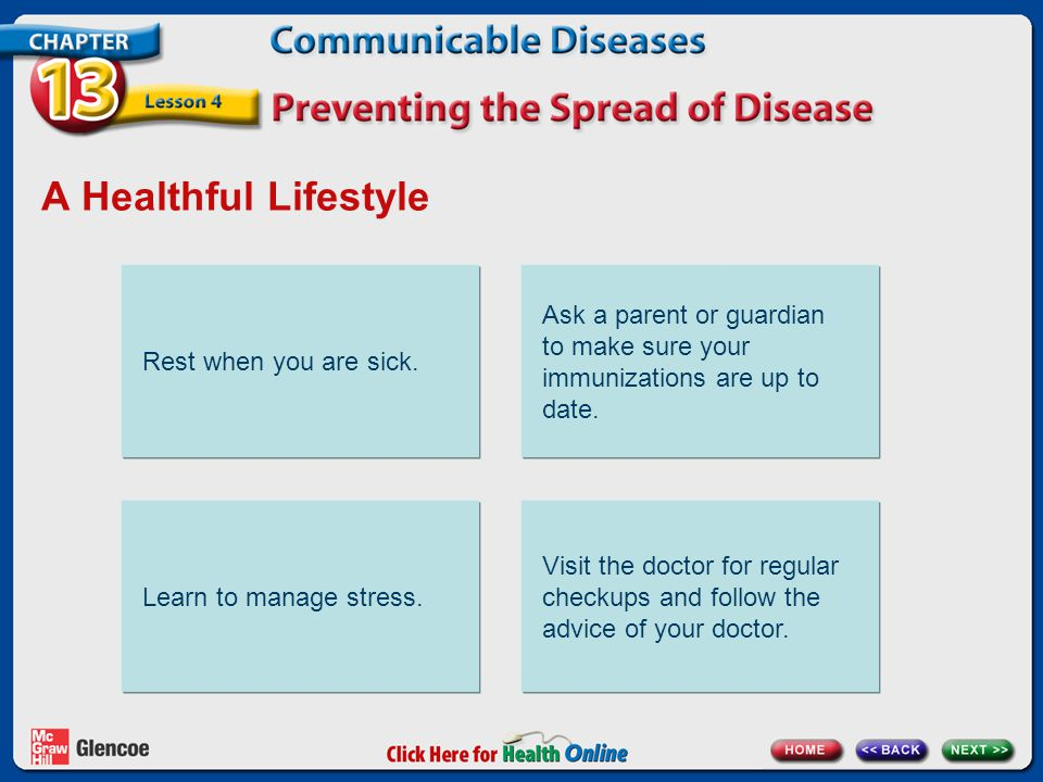 A Healthful Lifestyle Rest when you are sick. Ask a parent or guardian to make sure your immunizations are up to date.