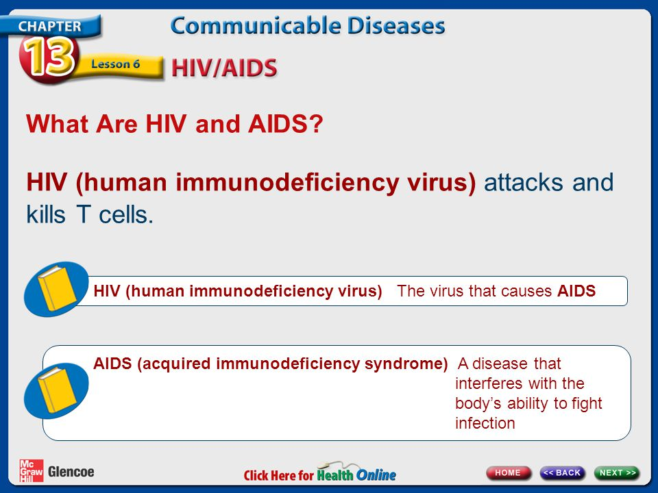 HIV (human immunodeficiency virus) attacks and kills T cells.
