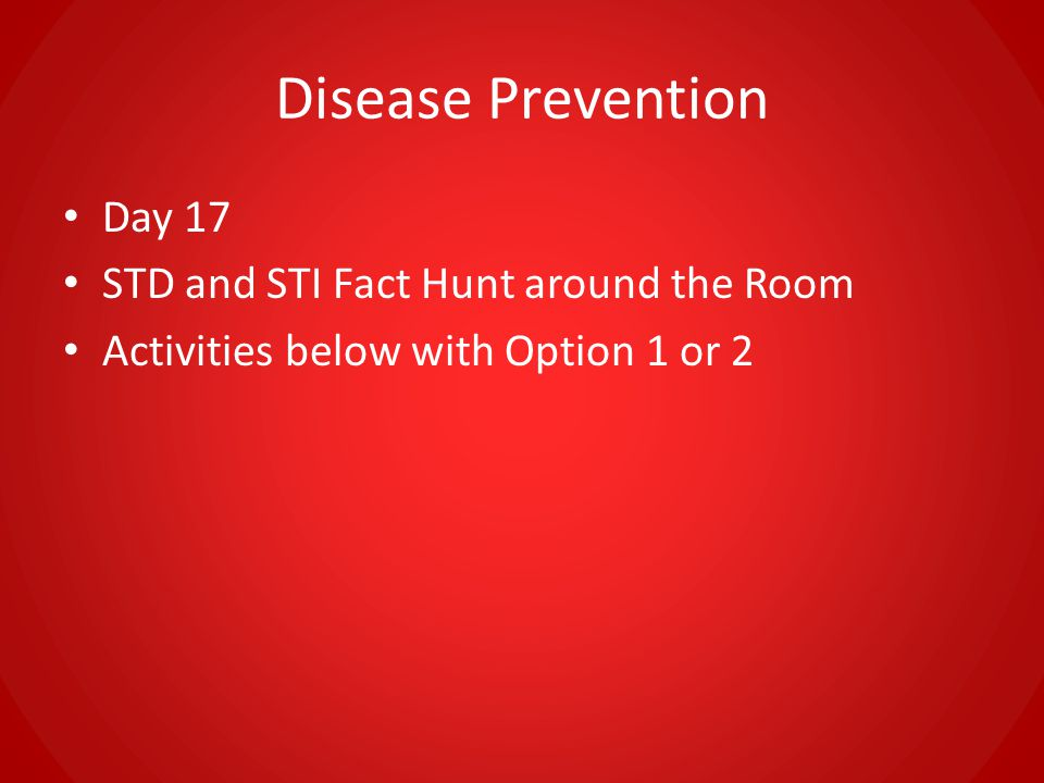 Disease Prevention Day 17 STD and STI Fact Hunt around the Room
