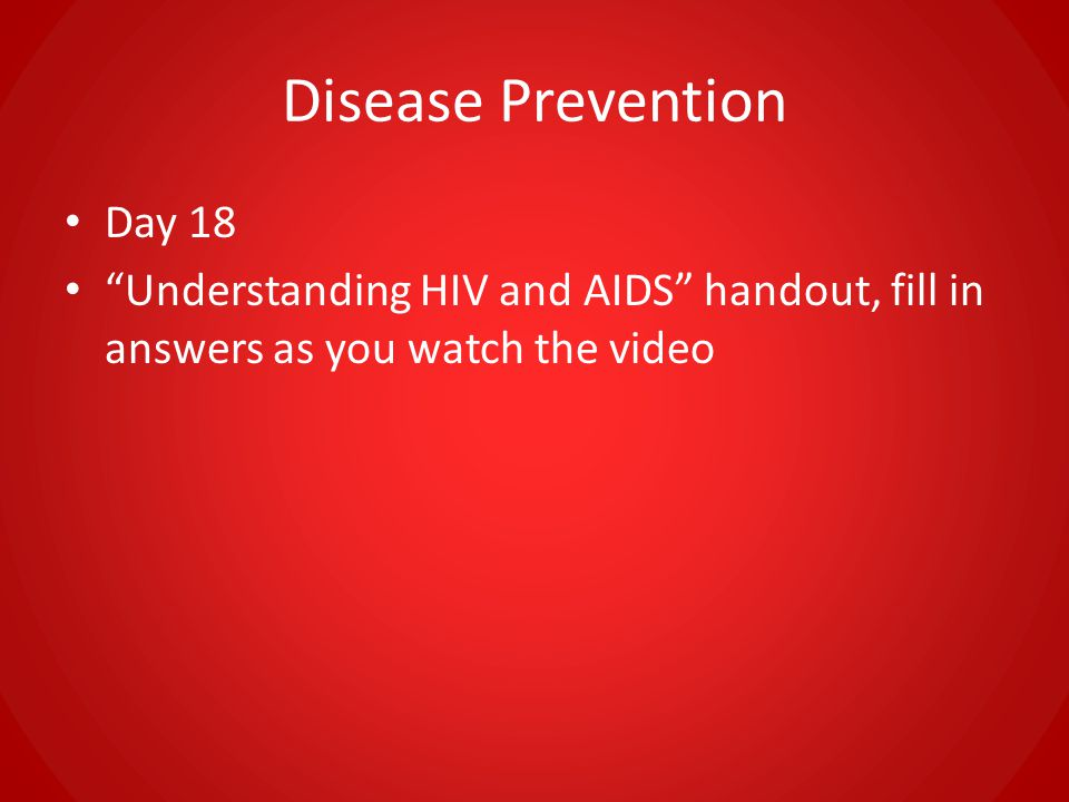 Disease Prevention Day 18