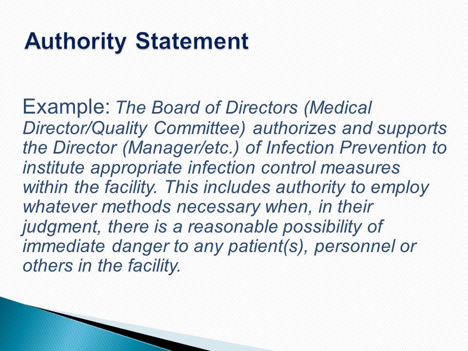 Authority Statement