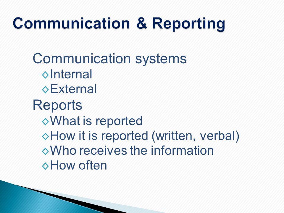 Communication & Reporting