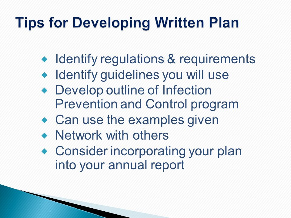 Tips for Developing Written Plan