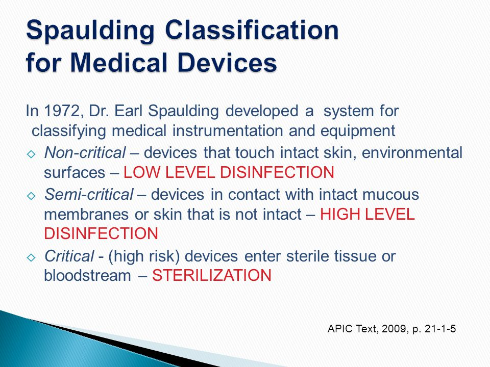 Spaulding Classification for Medical Devices