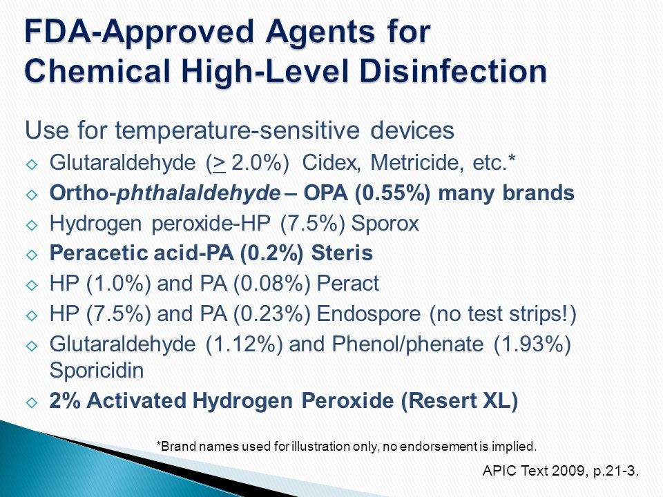 FDA-Approved Agents for Chemical High-Level Disinfection