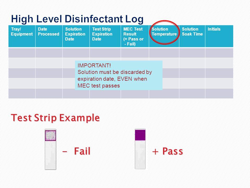 High Level Disinfectant Log