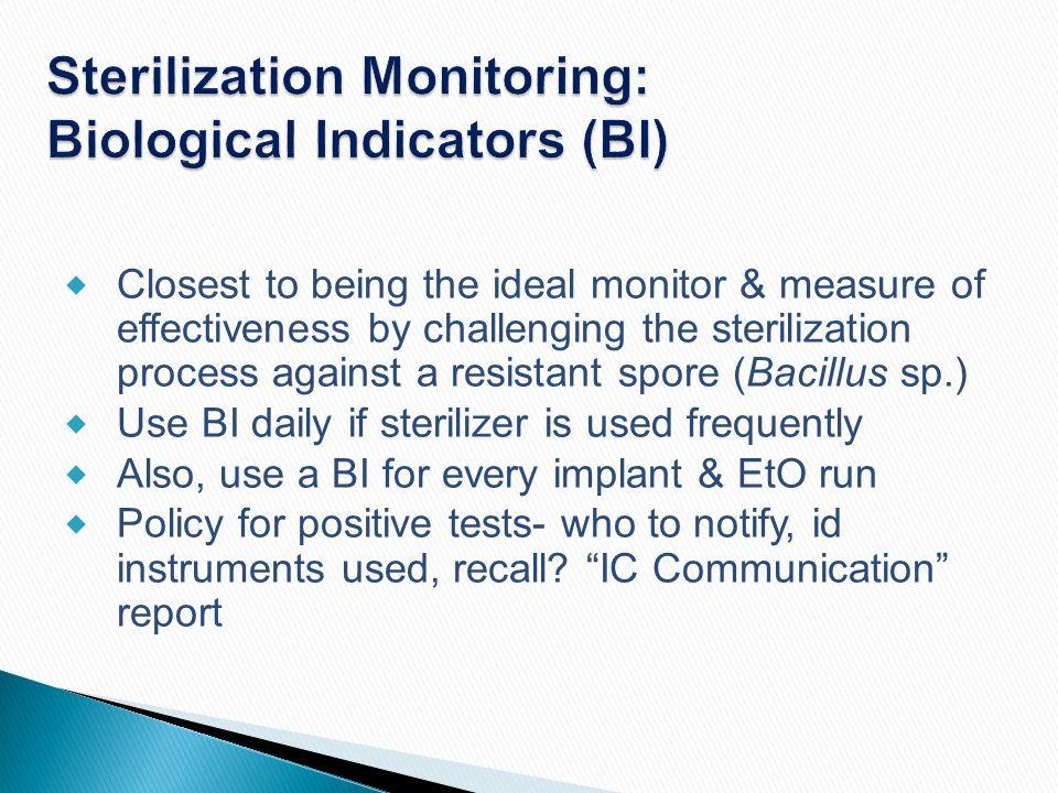 Sterilization Monitoring: Biological Indicators (BI)
