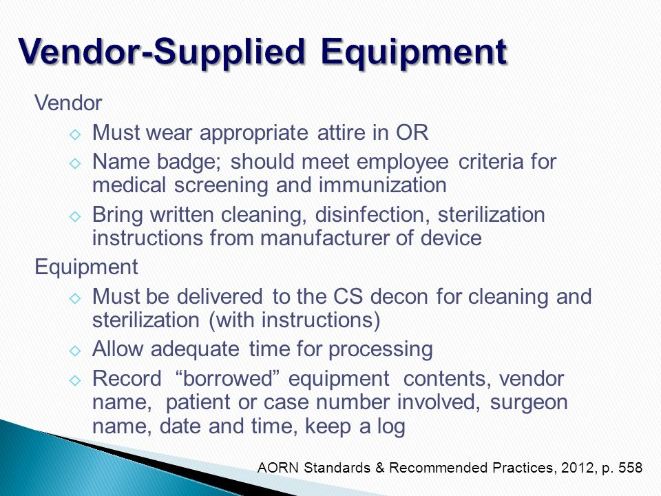 Vendor-Supplied Equipment
