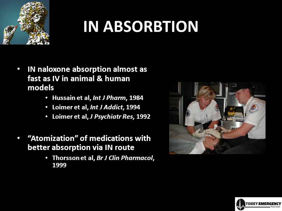 IN ABSORBTION IN naloxone absorption almost as fast as IV in animal & human models. Hussain et al, Int J Pharm, 1984.