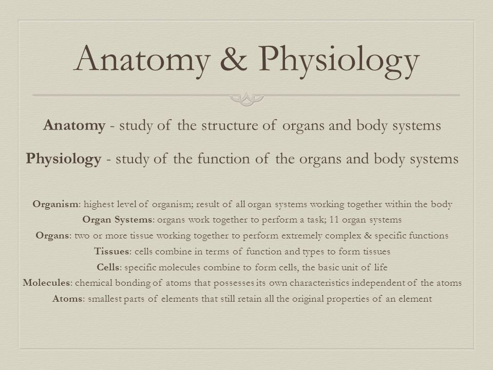 Anatomy & Physiology Anatomy - study of the structure of organs and body systems. Physiology - study of the function of the organs and body systems.
